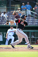 Fernando Perez (13) of the Lake Elsinore Storm bats against the Inland Empire 66ers at San Manuel Stadium on July 31, 2016 in San Bernardino, California. Inland Empire defeated Lake Elsinore, 8-7. (Larry Goren/Four Seam Images)