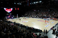 15.09.2018 Action during Silver Ferns v England netball test match at Spark Arena in Auckland. Mandatory Photo Credit ©Michael Bradley.