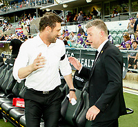 7th February 2020; HBF Park, Perth, Western Australia, Australia; A League Football, Perth Glory versus Wellington Phoenix; Tony Popovic head coach of Perth Glory greets Ufuk Talay head coach of Wellington Phoenix before the start of the match