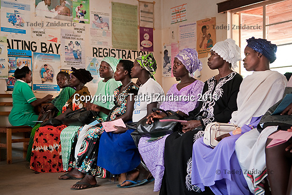 Pregnant women wait to get their blood pressure measured in Arua Hospital, Uganda. Medical facilities are often overcrowded.