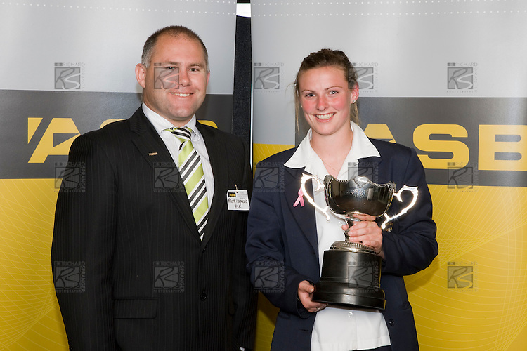 Mark Hayward from ASB with the Sports Woman of the Year Anna Green. ASB College Sport Young Sportperson of the Year Awards 2008 held at Eden Park, Auckland, on Thursday November 13th, 2008.