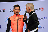 Montreal, Canada. 10/09/2017. Greg Van Avermaet of BMC Racing Team gives an interview before the Grand Prix Cycliste of Montreal, part of the UCI Worldtour.