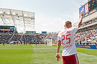 Brandon Barklage (25) of the New York Red Bulls about to take a corner kick. The New York Red Bulls defeated the Philadelphia Union  3-2 during a Major League Soccer (MLS) match at PPL Park in Chester, PA, on May 13, 2012.