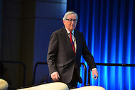 "Washington, DC - April 15, 2016: Jean-Claude Juncker, President of the European Commission, tenters the Preston Auditorium to participate in the ""Forced Displacement: A Global Development Challenge"" discussion at the World Bank Group MC building in the District of Columbia during the IMF/World Bank Spring Meetings, April 15, 2016.  (Photo by Don Baxter/Media Images International)"