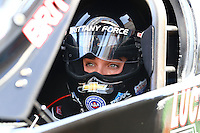Apr 11, 2015; Las Vegas, NV, USA; NHRA top fuel driver Brittany Force during qualifying for the Summitracing.com Nationals at The Strip at Las Vegas Motor Speedway. Mandatory Credit: Mark J. Rebilas-