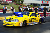 May 19, 2012; Topeka, KS, USA: NHRA pro stock driver Jeg Coughlin during qualifying for the Summer Nationals at Heartland Park Topeka. Mandatory Credit: Mark J. Rebilas-