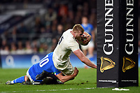 George Kruis of England dives for the try-line. Guinness Six Nations match between England and Italy on March 9, 2019 at Twickenham Stadium in London, England. Photo by: Patrick Khachfe / Onside Images