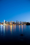 The view of downtown Vancouver from Stanley Park at dusk, Vancouver, B.C.
