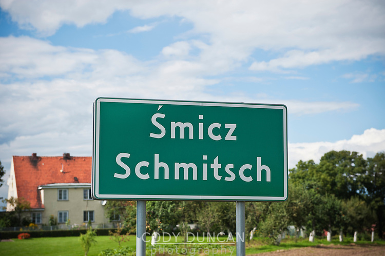 Bilingual Polish - German city sign from Smicz - Schmitsch, former German Oberschlessien (Upper Silesia), Modern Prudnik, Poland