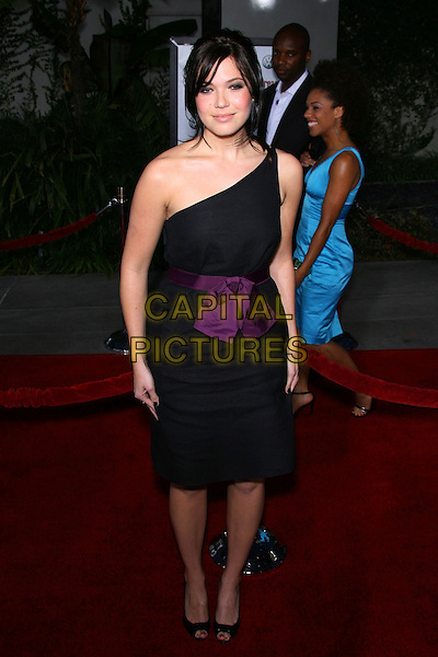 "MANDY MOORE.""American Dreamz"" Premiere - Arrivals held at the Arclight Cinemas, Hollywood, California, USA, .11th April 2006..full length one shoulder black dress purple waist belt sash ribbon tied bow peep toe shoes.Ref: ADM/ZL.www.capitalpictures.com.sales@capitalpictures.com.©Zach Lipp/AdMedia/Capital Pictures."