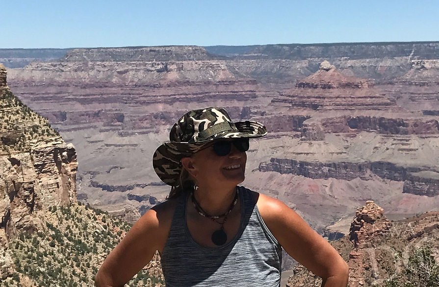 Courtesy photo<br />Walter hiked 20 miles along the rim of the Grand Canyon, one of the national parks she explored.