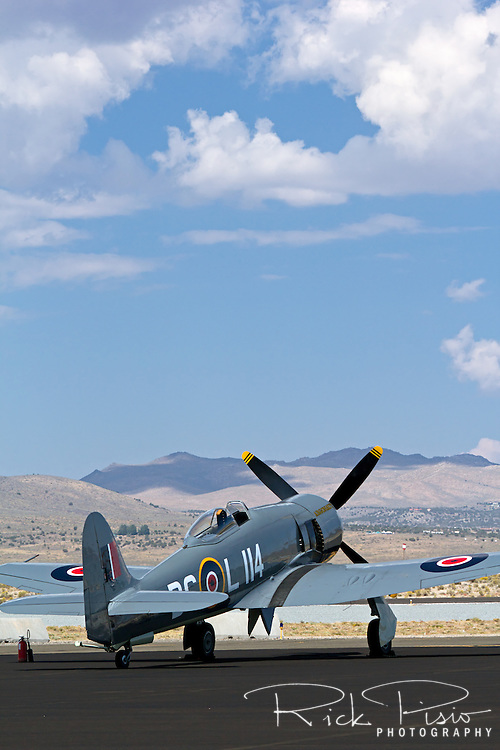 "Hawker Sea Fury ""Argonaut"" sits on the ramp during the 2013 National Championship Air Races in Reno, Nevada."