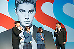 (L to R) Japanese comedian Terumoto Goto, actors Suzu Hirose, Sakurako Ohara and comedian Nozomu Iwao speak during a news conference to announce the Japanese telecommunications giant SoftBank's 2017 spring promotions on January 2017, Tokyo, Japan. SoftBank launched a new Super Student mobile plan for young users, and also announced discounts available to their customers through retail partners such as FamilyMart, Sunkus, Baskin Robbins, and Yahoo Japan Shopping. Canadian pop star Justin Bieber, who features in SoftBank's new promotion campaign sent a video message which was screened during the conference. In Japan spring is the season where students start a new school year and graduates begin work. (Photo by Rodrigo Reyes Marin/AFLO)