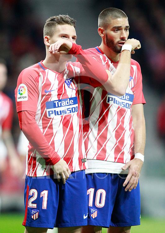 Atletico de Madrid's Kevin Gameiro (l) and Yannick Ferreira Carrasco during La Liga match. November 18,2017. (ALTERPHOTOS/Acero)