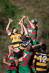 Jono Kawau and Daniel Fitzharris compete for the ball from a kick-off during the Counties Manukau Premier Club Rugby game between Bombay and Waiuku, played at Bombay, on Saturday May 31 2014. Waiuku won the game 16 - 14 after leading 9 - 7 at halftime  Photo by Richard Spranger