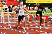 Photo: Richard Lane/Richard Lane Photography..Aviva British Grand Prix. 31/08/2009. Lawrence Clarke wins the men's U20 110m hurdles.