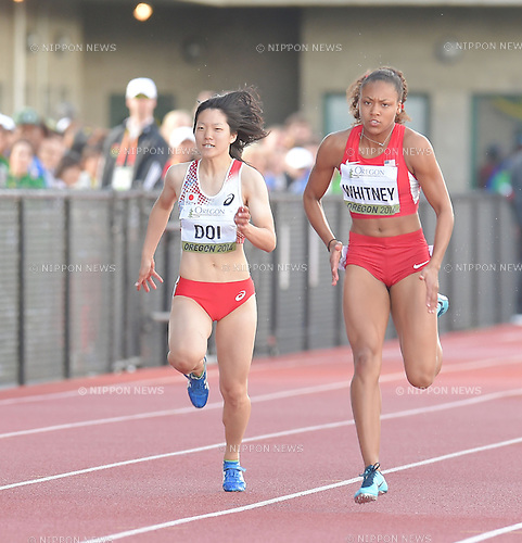 Anna Doi (JPN), Kaylin Whitney (USA),<br /> JULY 23, 2014 - Athletics :<br /> IAAF World Junior Championships Women's 100m Semifinals at Hayward Field in Eugene, Oregon, United States. (Photo by AFLO)