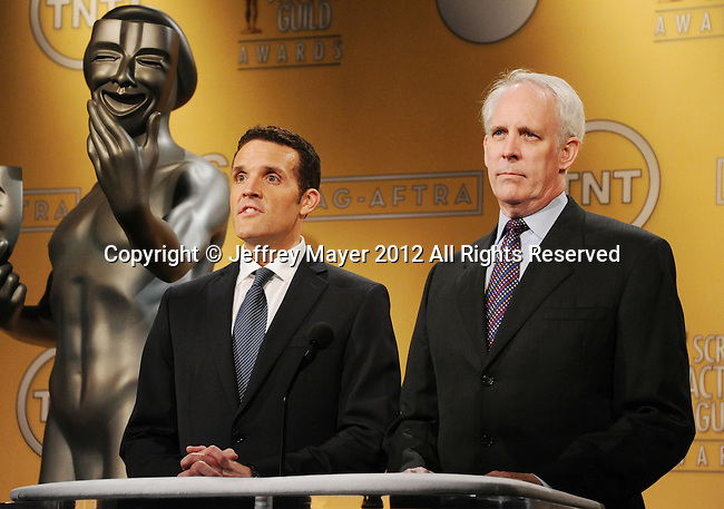 WEST HOLLYWOOD, CA - DECEMBER 12: Woody Schultz and Daryl Anderson speak onstage at the 19th Annual Screen Actors Guild Awards Nominations Announcement at the Pacific Design Center on December 12, 2012 in West Hollywood, California.