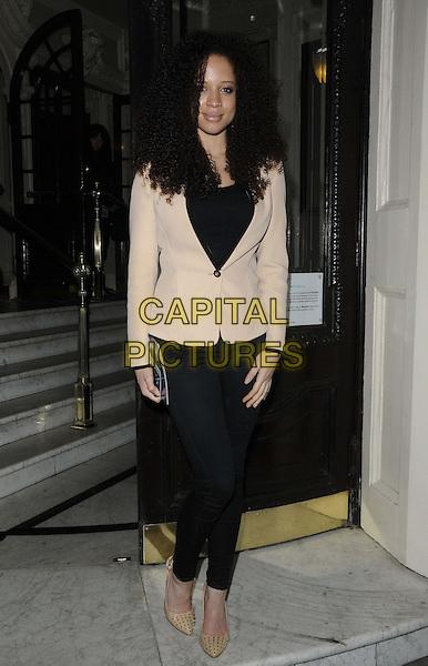 "Natalie Gumede.attended the ""Top Hat"" media night performance, Aldwych Theatre, Aldwych, London, England..February 26th, 2013.full length black jeans denim cream blazer .CAP/CAN.©Can Nguyen/Capital Pictures."