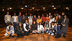 "Student performers during the eduHAM Q & A before The Rockefeller Foundation and The Gilder Lehrman Institute of American History sponsored High School student #EduHam matinee performance of ""Hamilton"" at the Richard Rodgers Theatre on November 13, 2019 in New York City."