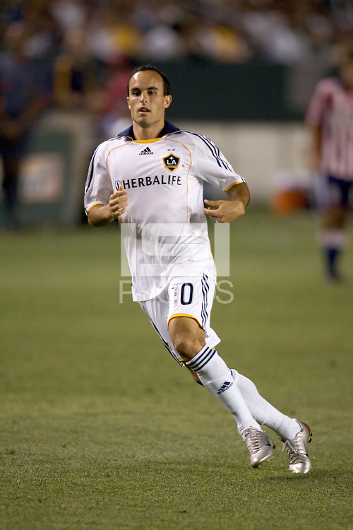 LA Galaxy forward Landon Donovan (10) passes the ball during the Super Clasico. The LA Galaxy defeated Chivas USA 5-2 during the SuperClasico at the Home Depot Center Stadium, in Carson, California, Saturday, April 26, 2008.
