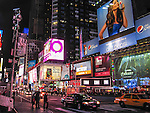 Street view of Times Square at night