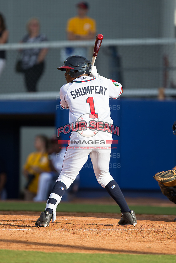 Nicholas Shumpert (1) of the Danville Braves at bat against the Princeton Rays at American Legion Post 325 Field on June 25, 2017 in Danville, Virginia.  The Braves walked-off the Rays 7-6 in 11 innings.  (Brian Westerholt/Four Seam Images)