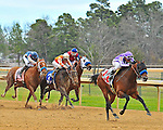 Rafael Bejarano rides Bob Baffert trained Castaway (right) to a dominating victory in the first division of the 47th running of the Southwest Stakes Monday afternoon at Oaklawn Park in Hot Springs.