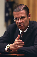 Washington (DC) USA - 22 Nov 1967 File Photo - <br /> Robert McNamara at a meeting, at the Cabinet Room, White House, Washington, DC<br /> <br /> <br /> Robert Strange McNamara (born June 9, 1916) is an American business executive and a former United States Secretary of Defense. McNamara served as U.S. Secretary of Defense from 1961 to 1968, during the Vietnam War. After holding that position he became President of the World Bank (1968-1981). McNamara was responsible for the institution of systems analysis in public policy, which developed into the discipline known today as policy analysis.[1]