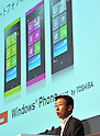 July 27th, 2011, Tokyo, Japan - Nobuo Otani, president of Fujitsu Toshiba Mobile Communications Ltd, speaks during a joint launch of Toshiba-Fujitsu IS12T, the worlds first Windows Phone 7.5, by KDDI, Fujitsu and Microsoft Japan in Tokyo on Wednesday, July 27, 2011. Manufactured by Fujitsu Toshiba Mobile Communications Ltd, the IS12T is Japan's first water- and dust-proof smartphone featuring Windows Phone 7.5, otherwise known as Mango. In addition to much smoother operability compared to conventional smartphones, the device offers the highest quality camera for a smartphone with 13.2-megapixels, and 32 GB of internal memory, while realizing a compact size. Users can not only read and edit Microsoft Office documents, but can also store and share data through Windows Live SkyDrive, a free-of-charge cloud service operated by Microsoft. The Windows phone will be available after September 2011.  (Photo by Natsuki Sakai/AFLO) [3615] -mis-