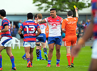 Michael Lealava'a is yellow carded during the Heartland championship rugby semifinal between Horowhenua Kapiti and Buller at Levin Domain in Levin, New Zealand on Saturday, 21 October 2017. Photo: Dave Lintott / lintottphoto.co.nz