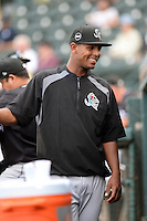 Jupiter Hammerheads pitcher Jarlin Garcia (33) in the dugout during a game against the Bradenton Marauders on April 18, 2015 at McKechnie Field in Bradenton, Florida.  Bradenton defeated Jupiter 4-1.  (Mike Janes/Four Seam Images)