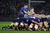 Luke McGrath of Leinster Rugby puts the ball into a scrum. European Rugby Champions Cup match, between Leinster Rugby and Bath Rugby on January 16, 2016 at the RDS Arena in Dublin, Republic of Ireland. Photo by: Patrick Khachfe / Onside Images