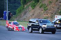 Jun. 15, 2012; Bristol, TN, USA: NHRA funny car driver Cruz Pedregon during qualifying for the Thunder Valley Nationals at Bristol Dragway. Mandatory Credit: Mark J. Rebilas-