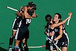 Argentina's Alejandra Gulla, right, celebrates with Mariana Gonzalez Oliva along Agustina Garcia during Samsung Women's World Cup Hockey Pool B match between Argentina and South Korea at Club de Campo in Madrid, Monday 02 October, 2006. (ALTERPHOTOS/Alvaro Hernandez).
