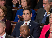 United States Senator Marco Rubio (Republican of Florida) listens as US President Barack Obama delivers his final State of the Union Address in the US House Chamber in the US Capitol on Tuesday, January 12, 2016.<br /> Credit: Ron Sachs / CNP<br /> (RESTRICTION: NO New York or New Jersey Newspapers or newspapers within a 75 mile radius of New York City)