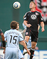 Danny Allsopp #9 of D.C. United eads over Wells Thompson #15 of the Colorado Rapids during an MLS match on May 15 2010, at RFK Stadium in Washington D.C. Colorado won 1-0.