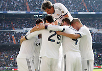 Real Madrid's Karim Benzema, Raphael Varane, Alvaro Morata, Fabio Coentrao, Jose Maria Callejon and Pepe celebrate goal and FC Barcelona's  during La Liga match.March 02,2013. (ALTERPHOTOS/Acero) /NortePhoto