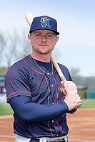 Cedar Rapids Kernels outfielder Jacob Pearson (2) poses for a photo before a Midwest League game against the Kane County Cougars at Northwestern Medicine Field on April 28, 2019 in Geneva, Illinois. (Zachary Lucy/Four Seam Images)