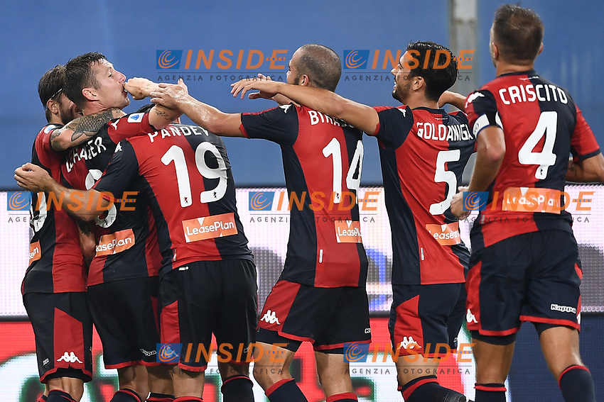 Lukas Lerager of Genoa celebrates with team mates after scoring the goal of 1-2 during the Serie A football match between UC Sampdoria and Genoa CFC at stadio Marassi in Genova (Italy), July 22th, 2020. Play resumes behind closed doors following the outbreak of the coronavirus disease. <br /> Photo Matteo Gribaudi / Image Sport / Insidefoto