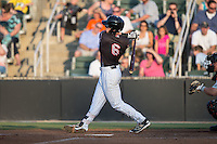 Max Dutto (6) of the Kannapolis Intimidators follows through on his swing against the Delmarva Shorebirds at Kannapolis Intimidators Stadium on June 25, 2016 in Kannapolis, North Carolina.  The Intimidators defeated the Shorebirds 2-1.  (Brian Westerholt/Four Seam Images)