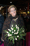 PRINCESSE LEA DE BELGIQUE -  La Princesse L&eacute;a de Belgique lors de l'inauguration de la 2eme Edition du Salon du Chocolat &agrave; Bruxelles. Lors du d&eacute;fil&eacute; la Princesse  &agrave; re&ccedil;u un bouquet de roses blanches en chocolat. Belgique, Bruxelles, le 05 f&eacute;vrier 2015.<br /> LEA PRINCESS OF BELGIUM - Princess Lea of Belgium at the inauguration of the 2nd Edition of the Salon du Chocolat in Brussels. During the parade at the Princess received a bouquet of white roses in chocolate. Belgium, Brussels, 5 February 2015.