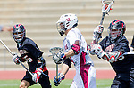 Torrance, CA 05/11/13 - Josh Davis (St Margarets #12) and Matt Edelstein (Harvard Westlake #33) in action during the Harvard Westlake vs St Margarets 2013 Los Angeles / Orange County Championship game.  St Margaret defeated Harvard Westlake 15-8.
