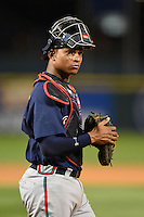 Gwinnett Braves catcher Christian Bethancourt (27) walks out the field during a game against the Buffalo Bisons on May 13, 2014 at Coca-Cola Field in Buffalo, New  York.  Gwinnett defeated Buffalo 3-2.  (Mike Janes/Four Seam Images)
