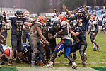 ANSONIA, CT. 02 December 2018-120218 Ansonia running back Shykeem Harmon #3, center, crosses the goal line scoring a touchdown pulling Ansonia within one, before the extra point during the Class S Semi-final game between Bloomfield and Ansonia at Ansonia High School in Ansonia on Sunday. Bloomfield held on to beat Ansonia 26-19 and advances to the Class S Championship game next week.  Bill Shettle Republican-American