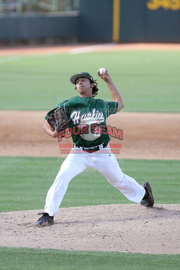 Nicholas Valenza #8 of the Horizon (Az.) High School Huskies pitches against the Desert Mountain High School Wolves in the  Class 5A-2 state tournament at Phoenix Municipal Stadium on May 10, 2011 in Phoenix, Arizona..Photo by:  Bill Mitchell/Four Seam Images