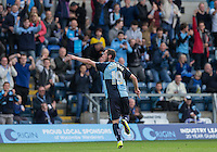 Michael Harriman of Wycombe Wanderers celebrates scoring his second goal of the match putting his team back in front during the Sky Bet League 2 match between Wycombe Wanderers and Hartlepool United at Adams Park, High Wycombe, England on 5 September 2015. Photo by Andy Rowland.