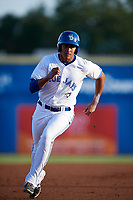 Dunedin Blue Jays left fielder Derrick Loveless (21) running the bases during a game against the St. Lucie Mets on April 19, 2017 at Florida Auto Exchange Stadium in Dunedin, Florida.  Dunedin defeated St. Lucie 9-1.  (Mike Janes/Four Seam Images)