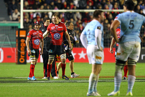 30.11.2013. Toulon, France. Top 14 rugby union. Toulon versus Perpignan.  Ali williams et matt giteau (rct)