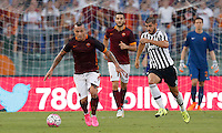 Calcio, Serie A: Roma vs Juventus. Roma, stadio Olimpico, 30 agosto 2015.<br /> Roma&rsquo;s Radja Nainggolan, left, is chased by Juventus&rsquo; Alvaro Morata during the Italian Serie A football match between Roma and Juventus at Rome's Olympic stadium, 30 August 2015.<br /> UPDATE IMAGES PRESS/Riccardo De Luca